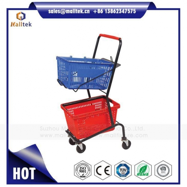 China Hand Basket Shoping Trolley for Supermarket Retail Grocery Store with Two Baskets