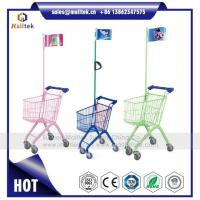 China Kids Child Plastic Supermarket Shopping Trolley Cart for Retail Grocery Store with Flag on sale