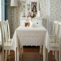 cream lace watchable soft stain resistant pvc tablecloth