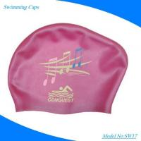 China Colorful OEM Logo Available Printed Silicone Swim Cap for Children wholesale