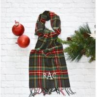 China Monogrammed Plaid Scarf - Charcoal Red & Green wholesale