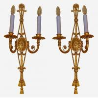 Buy cheap Pair of Adam style gilt bronze 2-arm wall lights Stock Number: L217 from wholesalers