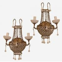 Buy cheap Pair of beaded Opaline 2-arm wall lights Stock Number: L235 from wholesalers