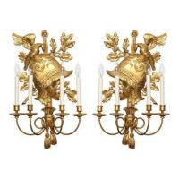 Buy cheap Pair of Gilt Wood Helmet Form Wall Sconces Stock Number: L54 from wholesalers