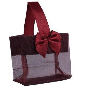 """Quality Burgundy Sheer Tote with Satin Handle & Bow (3.25"""" x 3.25"""" x 2""""), 12 bags SHTOTE-BU-D for sale"""