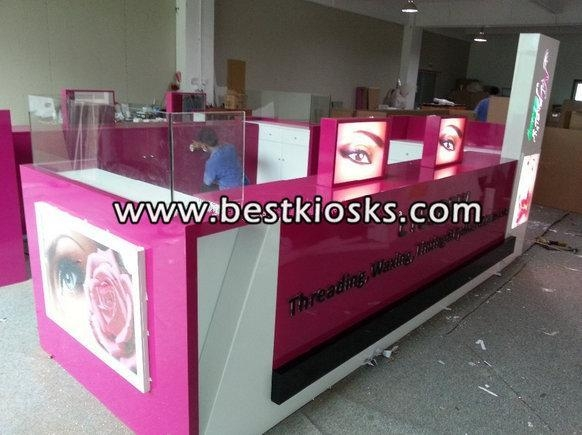 Quality Two chairs eyebrow threading kiosk for mall for sale