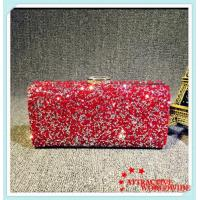 PU Leather Ladies Rectangular Evening Bags Clutches with Shining Rhinestone