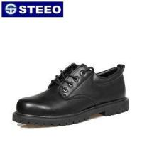 Black Genuine leather hexagonal button office safety shoes price