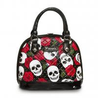 Loungefly Skull and Roses Black Faux Patent Leather Dome Purse