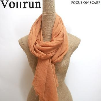 China Rust Red Light Cotton Voile Crinkle Big Size Scarf