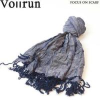 China Casual Denim Color Viscose Linen Mix Wrinkle Scarf wholesale
