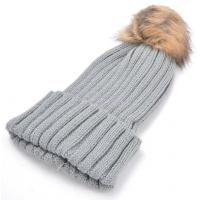 China Classic Beanies Tight Knitted Faux Fur Hat Pompoms Top Quality on sale
