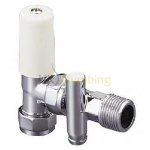 Quality Heating Controls Pegler Terrier C/P Manual Radiator Valve Lockshield With Drain Off Angled 15mm for sale