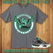 China Fly N Any Weather t-shirt to match Jordan Retro 4 Green Glow wholesale