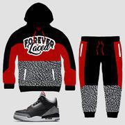 Buy cheap CLEARANCE Forever Laced Sweatsuit to match Jordan 3 OG Black Cement from wholesalers