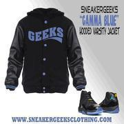 Buy cheap CLEARANCE GEEKS Hooded Varsity Jacket to match Jordan 11 Gamma Blue from wholesalers