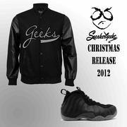 Buy cheap CLEARANCE ON JACKETS GEEKS Baseball jacket in Foamposite One Stealth Colors from wholesalers