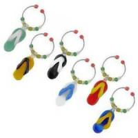 Decor - Tropical Flip Flop Art Glass Wine Markers Charms Set of 6 - WB-025