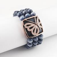 China ROSE GOLD PLATED SILVER BRACELET WITH CAT EYE BEADS. wholesale