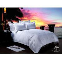 Buy cheap Luxury High Quality 100% Cotton White Jacquard Bed Sheets For 5 Star Hotel from wholesalers