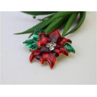 Buy cheap Brooches The Princess Jewelry Red Flower With Green Leaves Brooch Pin For Winter from wholesalers
