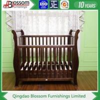 China Baby Cot/Crib Nursery baby furniture white wood sleigh cot wholesale