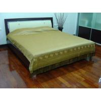 China Reversible Thai Silk Double Bed / Queen Size Bedspread Thai Elephant Gold wholesale