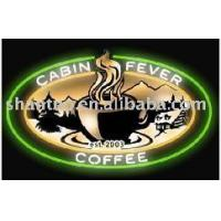 Wholesale Coffee open neon sign with circle tube and screened background from china suppliers