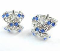 China - Blue and White Crystals Cross Cufflinks wholesale