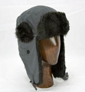 China Aviator Hat (Grey/Black) - Polar Fleece with Faux Fur Trim by Klondike Sterling