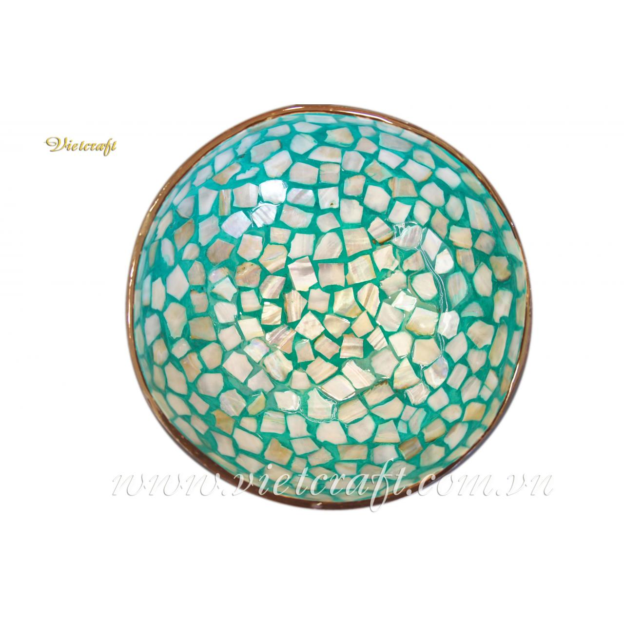 China -Lacquer Coconut Bowl-Mother-of-Pearl inlaid in Mosaic Style-Green Color on sale