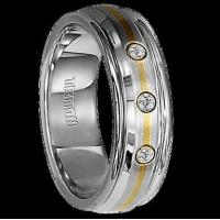 China All Wedding Bands 1/8 cwt Diamond Ring with 14 kt. Gold Stainless Steel - B058S wholesale
