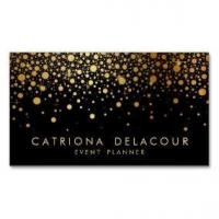 China Wedding Business Cards Faux Gold Foil Confetti Business Card | Black wholesale