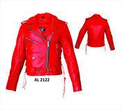 Ladies Red Leather Jacket #AL2122