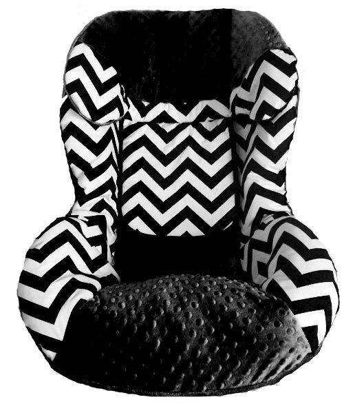 custom chevron black with black replacement toddler car seat cover fits britax boulevard cs of. Black Bedroom Furniture Sets. Home Design Ideas