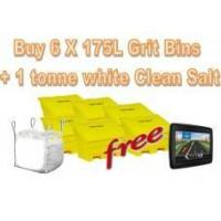 Offers with Free Gifts 6x 175 Litre Grit Bins and 1 Tonne White Rock Salt with Free Gift