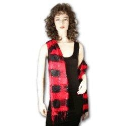 China Shawls and Wraps Exquisite Red Plaid Thai Silk Shawl with Silver Accents