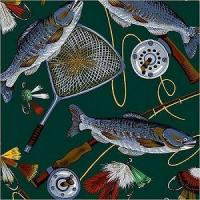 China Fabrics Fly Fishing (Fish Gear Poles Reels Rods Net Tackle Baits Lures) Fleece Fabric Print on sale