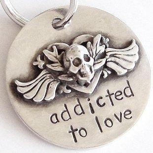 China Addicted to Love Sterling Silver Dog Tag by Nancy