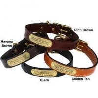 Buy cheap English Bridle Leather Dog Collar with Personalized Nameplate from wholesalers