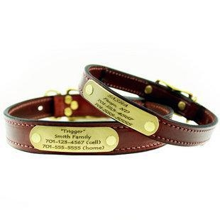 China Mendota Leather Dog Collar with Personalized Name Plate