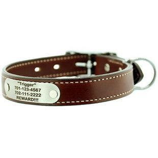 China Signature Double Ply Leather Dog Collar with Nameplate