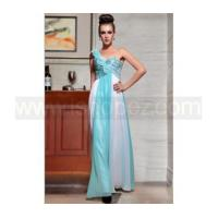 China New arrival blue white one shoulder long sequin prom dress wholesale