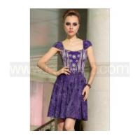 A line off shoulder short sleeves purple lace prom dress Europe retro royal