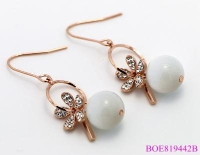 China Spring Style Noble Crystal Earring Single Opal Stone Beads For Lady