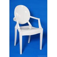 R-GH-L01 White Resin Louis Ghost Arm-Chair