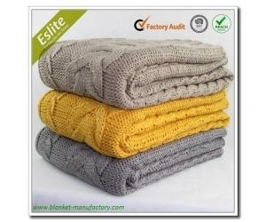 Quality Cable Knitted Blanket Factory China Wholesale Acrylic Throw Cable Knit Blanket for sale