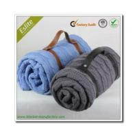 China Cable Knitted Blanket Portable Plain Cable Knit Sofa Blanket Thin Cotton Blanket wholesale