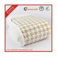 China Coral Fleece Blanket newest houndstooth printed 100 polyester coral fleece blanket wholesale