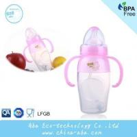 New Style Infant Baby 240ML Wide Neck Anti-microbial Silicone Feeding Bottle With Handles and Straw